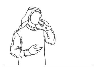 arab businessman in keffiyeh talking on cell phone - single line drawing