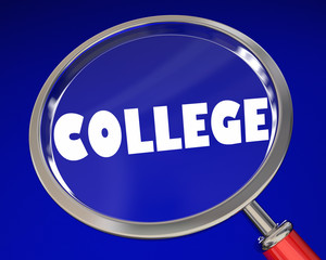 College Magnifying Glass Univeristy School Research Choices 3d Illustration