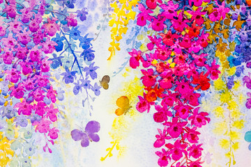 Painting imagination colorful of beauty orchid flowers with butterfles