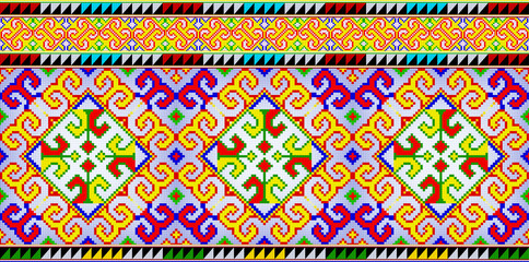 Embroidered pattern texture background. Illustration patchwork on fabric pattern.  Abstract colorful doodle pattern in Thai hill tribe style, Thailand. Idea for printing on fabric or wallpaper.