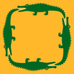 Background of the crocodile. Decorative pattern. Yellow field and green crocodiles. Vector Image.