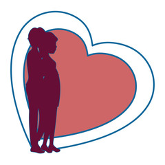 heart with silhouette of couple in love icon over white background colorful design vector illustration