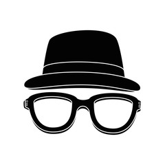 hat and glasses icon over white background vector illustration