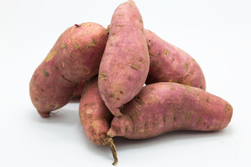 Sweet potato on white background, raw food isolated