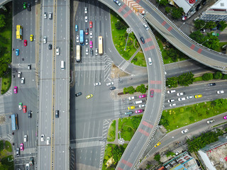 Aerial view from the drone on the highway of Bangkok,Thailand