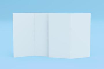 Blank white two fold brochure mockup on blue background