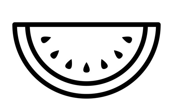Watermelon fruit slice or cross section with seeds line art vector icon for apps and websites