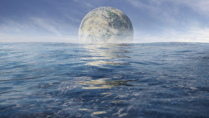 huge alien moon rising over the ocean of a distant planet