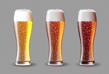 Beer on glass. Realistic vector beer set on transparent background.