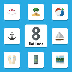 Flat Icon Summer Set Of Coconut, Recliner, Ship Hook And Other Vector Objects. Also Includes Ship, Yacht, Pictures Elements.