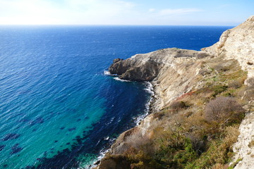 Photo of the picturesque Crimean rocky hills on the coast of the Black Sea to Cape Fiolent