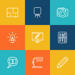 Set Of 9 Constructive Outline Icons Set.Collection Of Dslr Camera, Monitor, Idea And Other Elements.