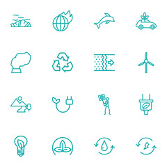 Set Of 16 Bio Outline Icons Set.Collection Of Pollution, Wind Turbine, Air And Other Elements.
