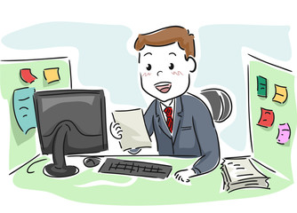 Man Office Paper Happy Cubicle Illustration