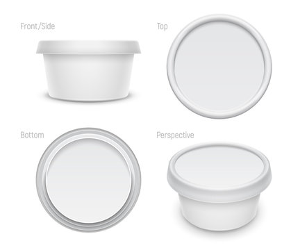 Vector white round container for cosmetics cream, butter or margarine spread. Packaging template illustration.