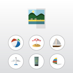 Flat Icon Summer Set Of Aircraft, Parasol, Surfing And Other Vector Objects. Also Includes Umbrella, Foto, Vessel Elements.