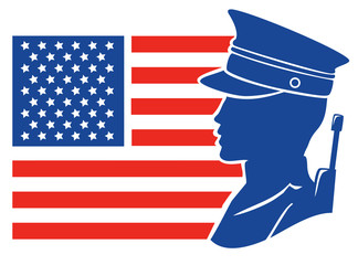 Silhouette Man Soldier American Flag Illustration