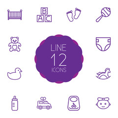 Set Of 12 Baby Outline Icons Set.Collection Of Bib, Rattles, Crib And Other Elements.