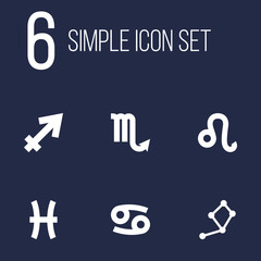 Set Of 6 Horoscope Icons Set.Collection Of Crab, Zodiac Sign, Archer And Other Elements.