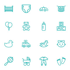 Set Of 16 Baby Outline Icons Set.Collection Of Teddy, Diaper, Bottle And Other Elements.