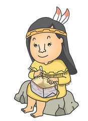 Girl Native American Basket Birch Bark Illustration