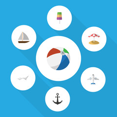 Flat Icon Beach Set Of Aircraft, Sphere, Yacht And Other Vector Objects. Also Includes Ice, Sphere, Hook Elements.