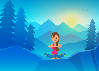 Vector yoga illustration, Young girl doing yoga on top of mountain. Calm and cool environment. Healthy active lifestyle. Digital character illustration.