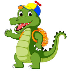 Happy Crocodile cartoon going to school