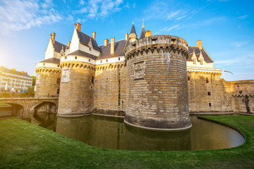 Sunset view on the castle of the Dukes of Brittany in Nantes city in France Wall mural