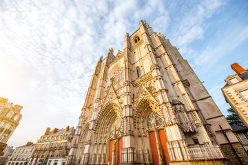 Sunset view on the saint Pierre cathedral in Nantes city in France Wall mural