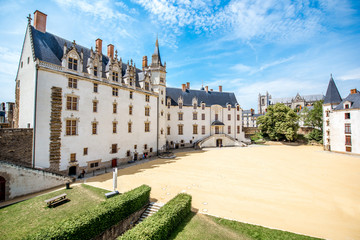View on the castle of Dukes of Brittany during the sunny weather in Nantes city in France Wall mural