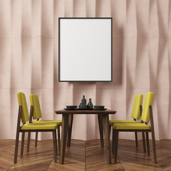Beige textured wall dining room, yellow chairs
