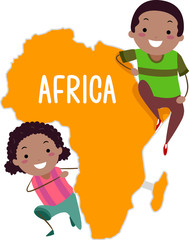 Stickman Kids Continent Africa Illustration