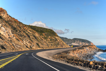 View of Pacific Coast Highway and the Pacific Ocean in Southern California