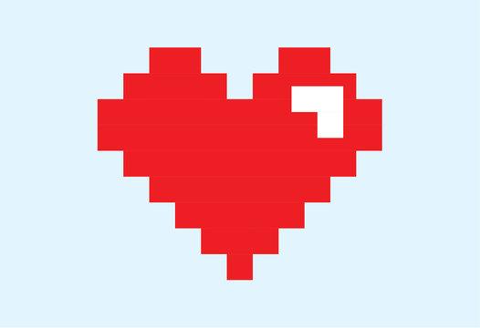 vector of heart pixel