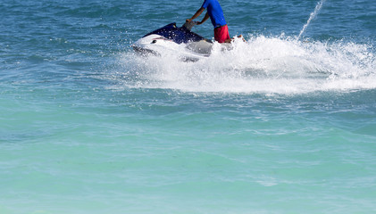 Waverunner splashing on the sea.