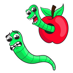 cartoon worm in an Apple, a frightened worm . character design, vector illustration.