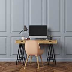Rectangular pattern room, computer desk, beige