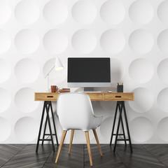Circle pattern room, computer desk