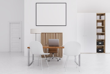 White and wooden office, small poster