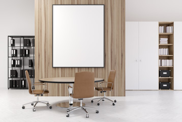 White and wooden office, bookcases, poster