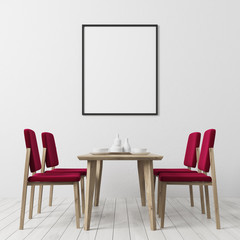 White floor dining room, red chairs