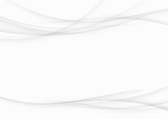 Soft smooth abstract grey gradient streak swoosh lines. Elegant futuristic graphic speed transparent wave background design template