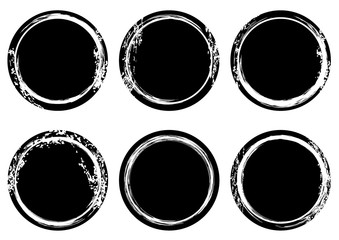 Black and white grunge stamp Insignia Round Circle banners. Post Seal Collection. Icons. Labels. distress textures