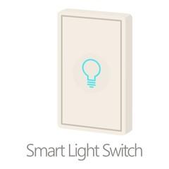Smart light switch icon, cartoon style