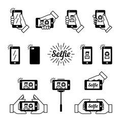 Selfie icon vector set