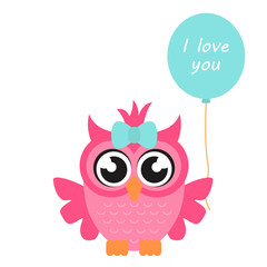 cartoon owl girl with balloon