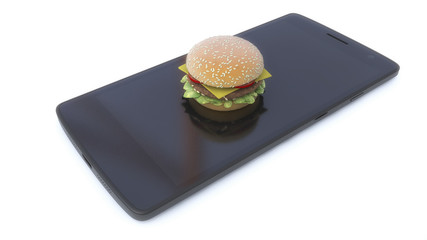 3d render. Mobile phone and hamburger