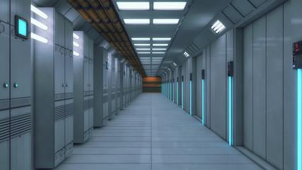 3D render. Futuristic interior corridor spaceship