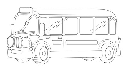 Cartoon happy and funny looking cartoon bus - coloring page / illustration for children